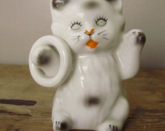 Vintage   porcelain  animal figurine,Playing little cat with toy,handpainted