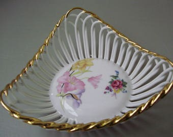 Vintage inwrought porcelain bowl,candy plate,dish