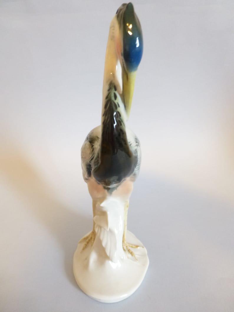 Large Vintage German Karl Ens fine porcelain bird figurine,crane,heron,Ens statue,hand painted,stamped