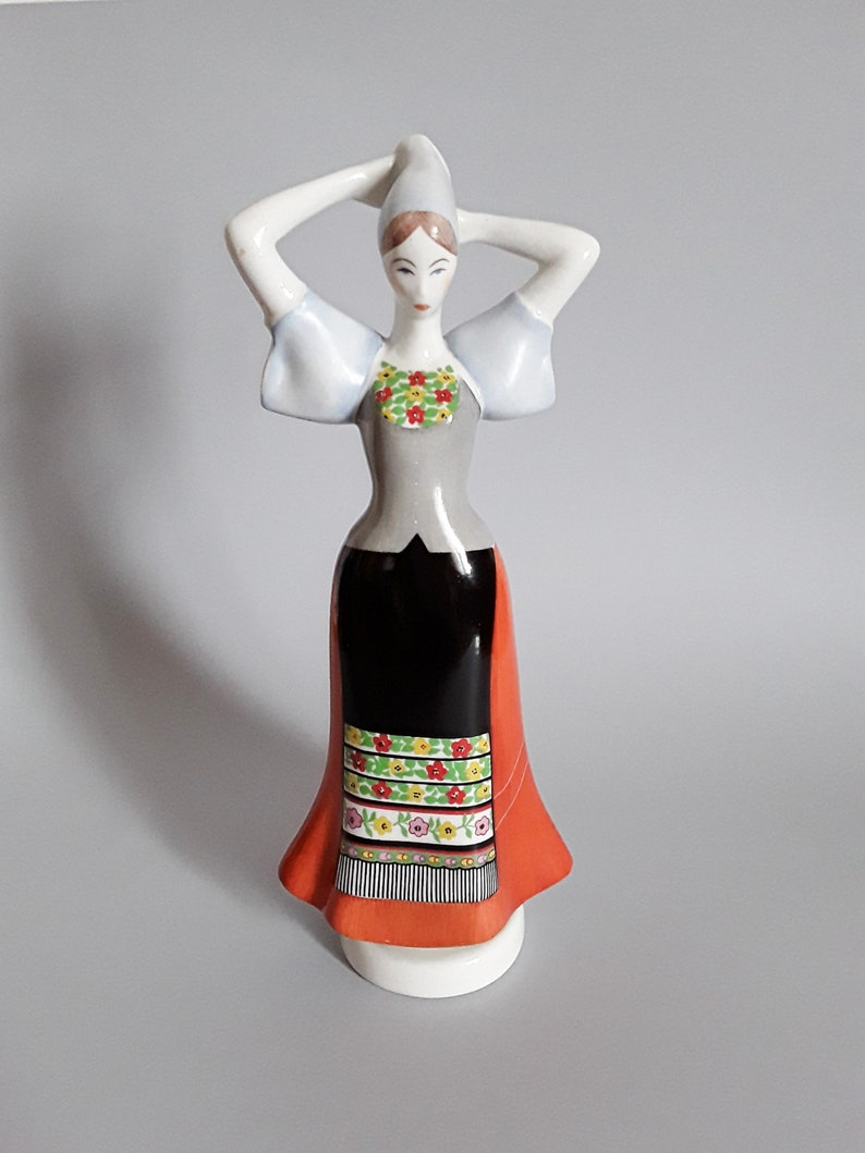 Hungarian Aquincum porcelain statue,lady,women,girl  and man in traditional folk cloth,stamped,hand painted 2 pieces Vintage