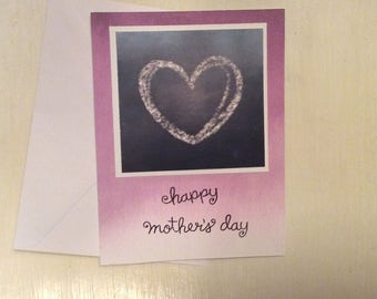 Chalk Heart - Happy Mother's Day - Hand made card - Card - Mom - Sweet - Simple - Pink