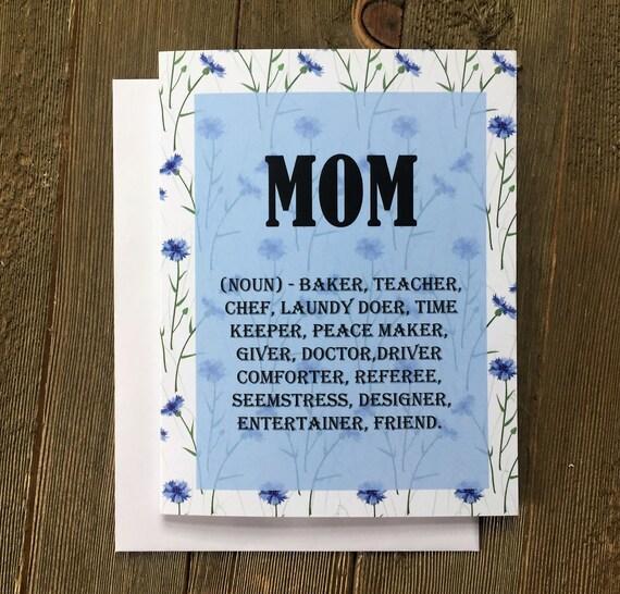 Funny Mom Card Mother Mom Card Cornflower Blue Blue Flower Als Birthday Card For Mom Than You Card Mum