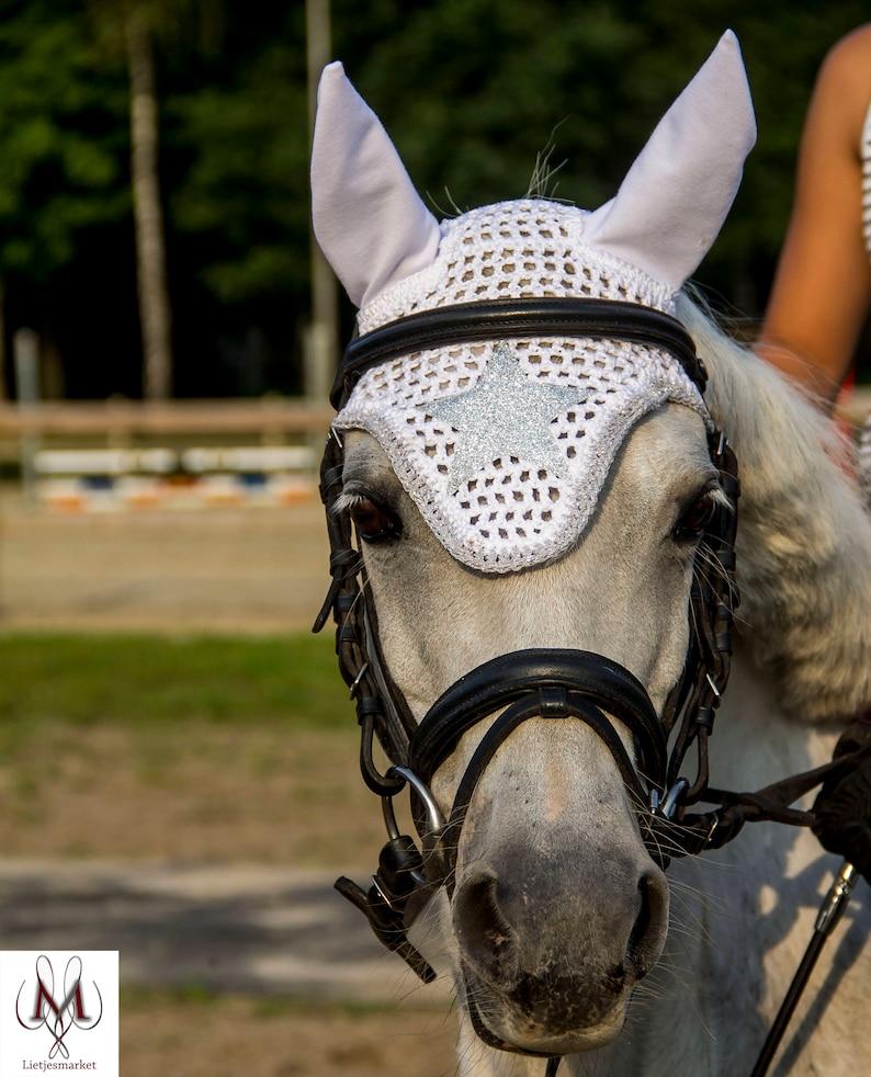 Sale white silver fly veil pony fly bonnet sparkel fly veil white fly bonnet bling bling fly bonnet discount zilver star fly veil