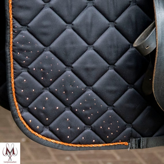 Hedendaags Saddle pad black and rose gold saddle pad rhinestones | Etsy MC-53