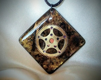 Steampunk Pendant / Necklace / Authentic Antique Clock Gear Pendant / Patina Gear Pendant / Steampunk Jewelry
