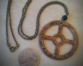"Steampunk Pendant / Authentic Brass Clock Gear Pendant / Reversible / 1 3/4"" / Patina / Ice Resin / Steampunk Necklace"