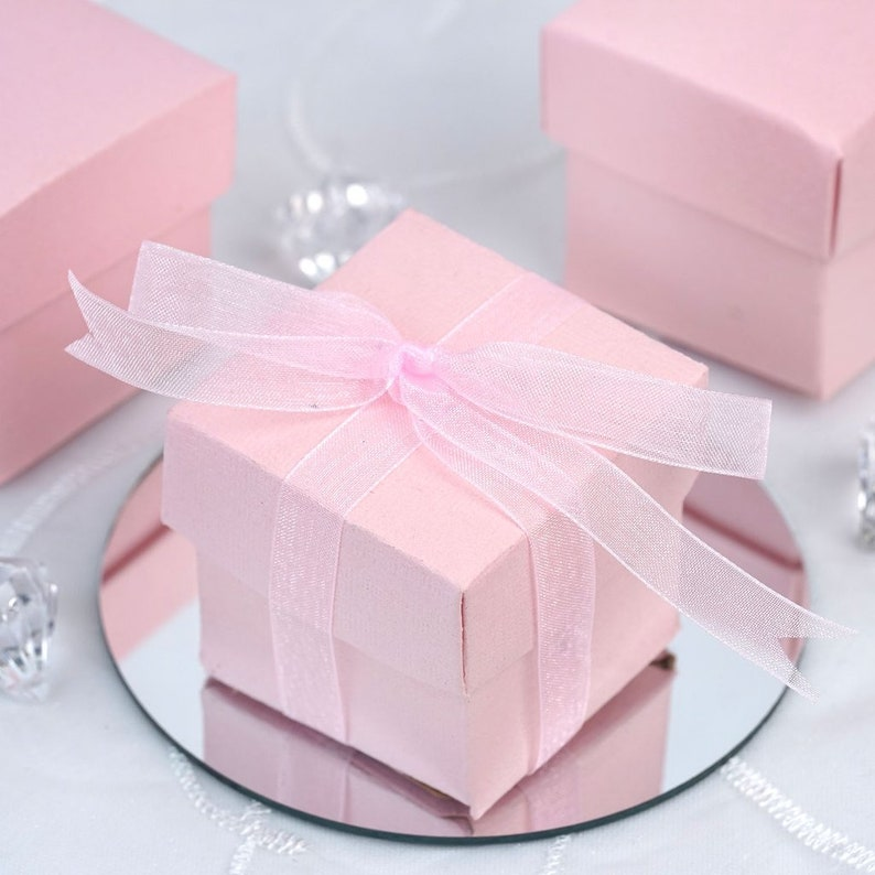 610a42badb5 25x Blush Pink Square Favor Box With Ribbon 2x2 inches pink