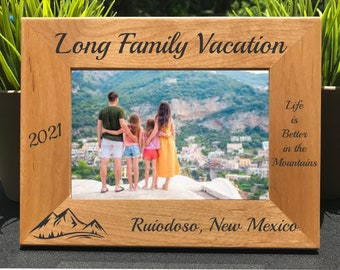 Select Size and Frame Orientation Personalized Dominican Republic Vacation Picture Frame Engraved with Text and Font Selection