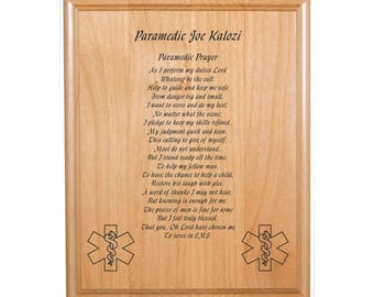 "Personalized Engraved_8""x10""_EMT / Paramedic_Prayer Plaque_EMS"