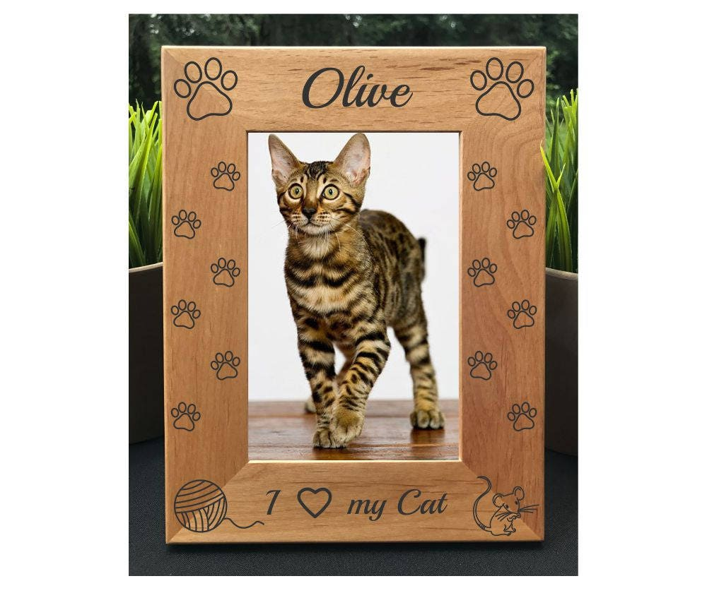 I Love My Cat Personalized Engraved Photo Frame Cat Lover