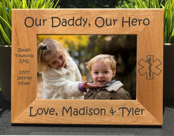 My Daddy My Hero Emt Paramedic Personalized Engraved Photo