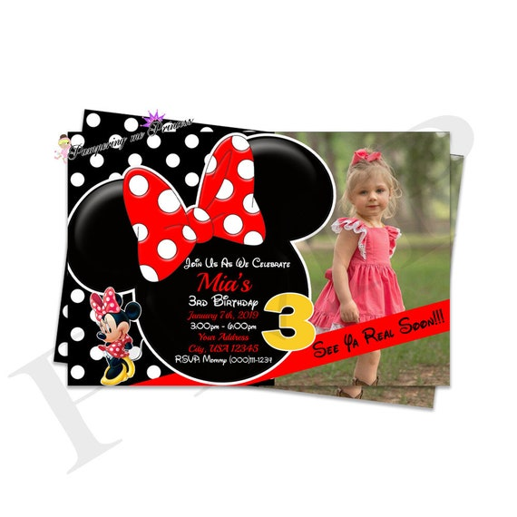 Minnie Mouse Invitations You Print Invitations Red And Black Etsy