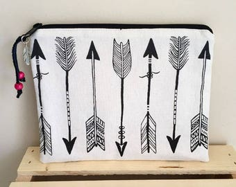 Black and white arrow print bag. Large pouch. Arrow print clutch.  Boho bag. Black and white bag.