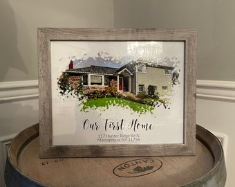Our first home portrait   watercolor effect on print or canvas   variable sizes