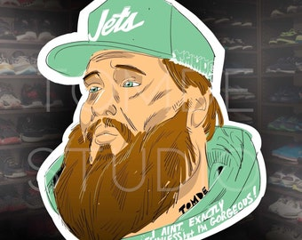 """Action Bronson Sticker - """"I Ain't Flawless, But I'm Gorgeous - Tomde Studio © Limited Original Design - Hip Hop Music - Rap Icons"""