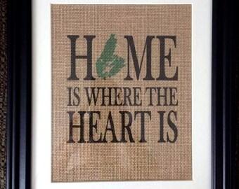 Cape Breton Burlap Print - Home is where the Heart is