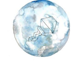 Aquarius 2 Geometric Zodiac - Color Prints