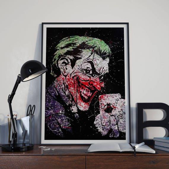 Joker Painting Print Joker Art Joker Print Art Print Batman Art Poster Joker Wall Art Batman Art Print Comic Book Art Prints Gift