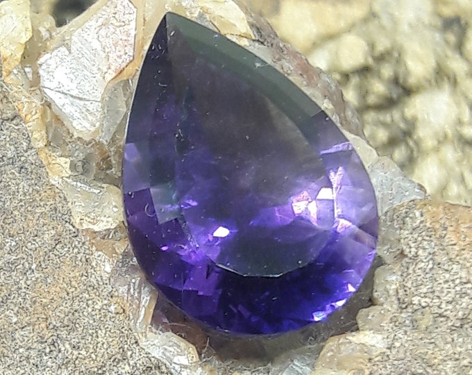 Natural/Untreated Teardrop shaped Four Peaks Amethyst 4.82cts, 9.5 x 5.3mm for Gemstone Collecting/ Jewelry Making