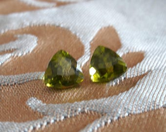 7mm 3.41ctw Arizona faceted peridot pair for earrings and jewelry making