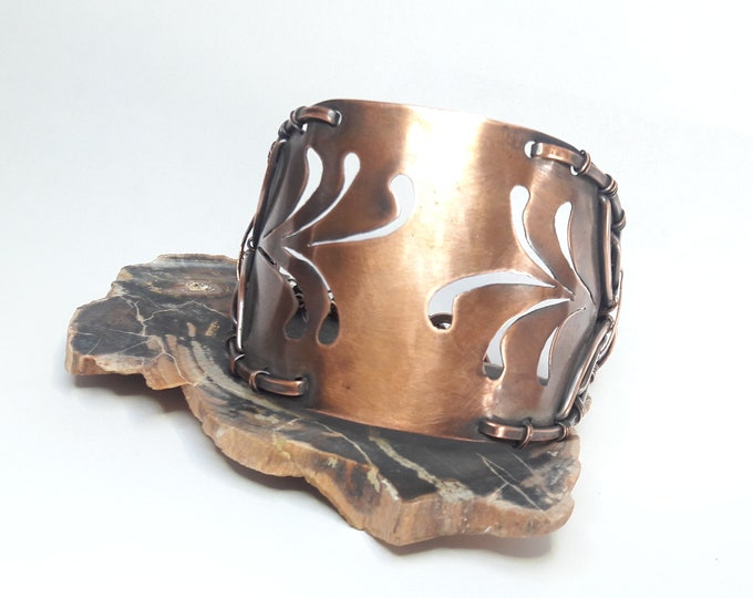 Ocotillo Large Copper cutout and Hand Forged Copper wire Statement cuff bracelet