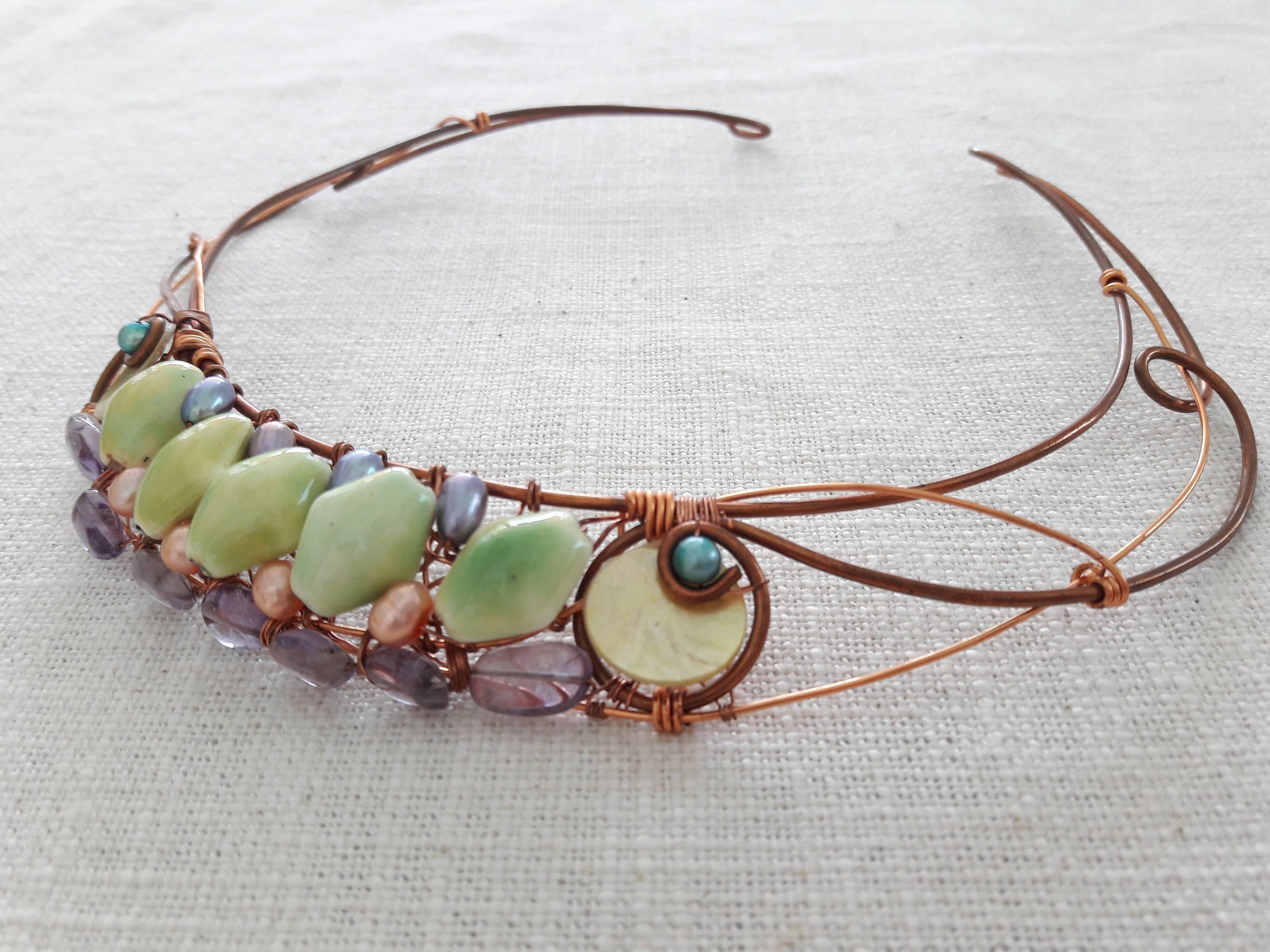 Art Nouveau inspired wire wrap collar necklace with ceramic ...
