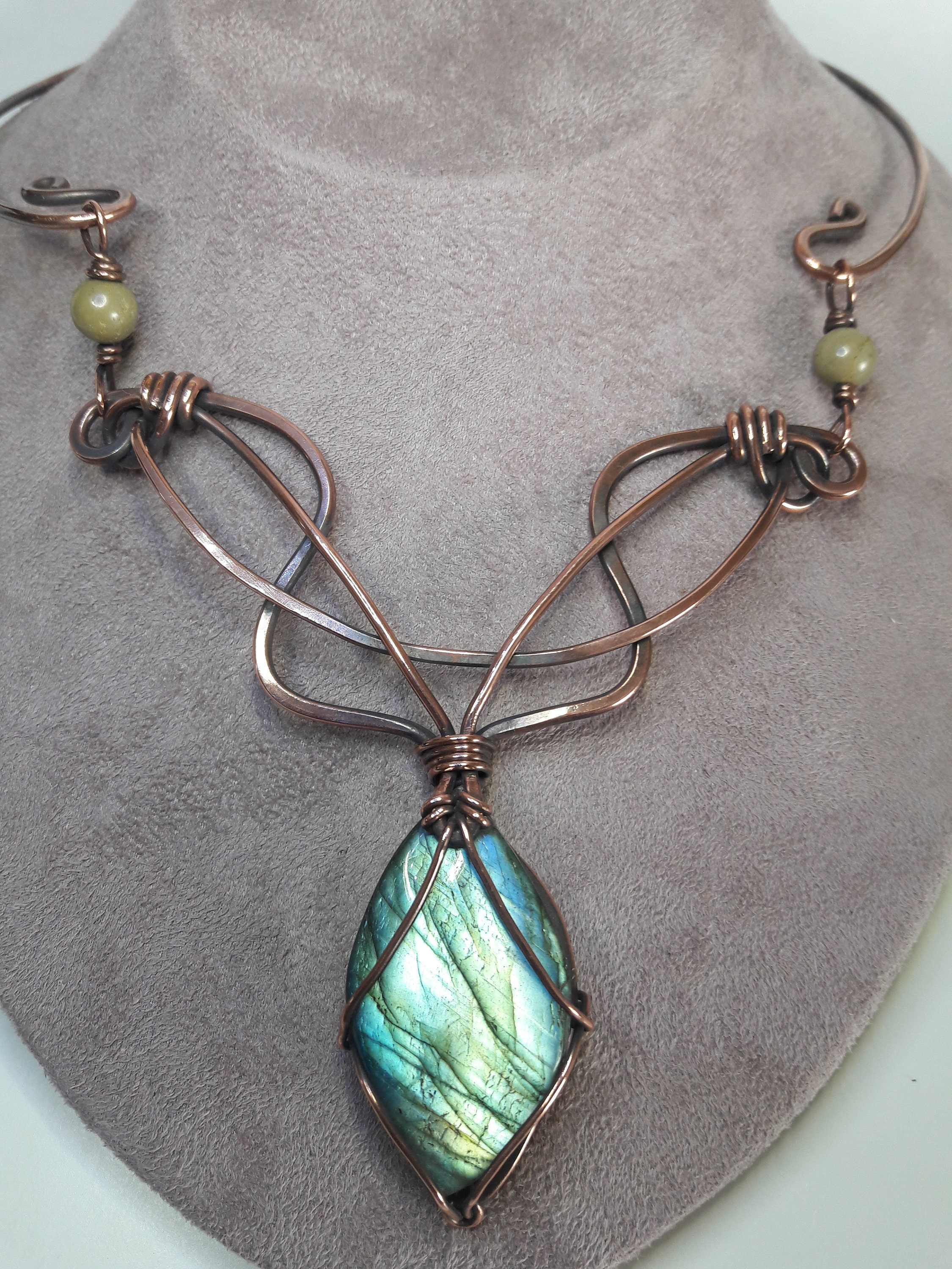 Labradorite, Royston Turquoise and Copper Art Nouveau Inspired
