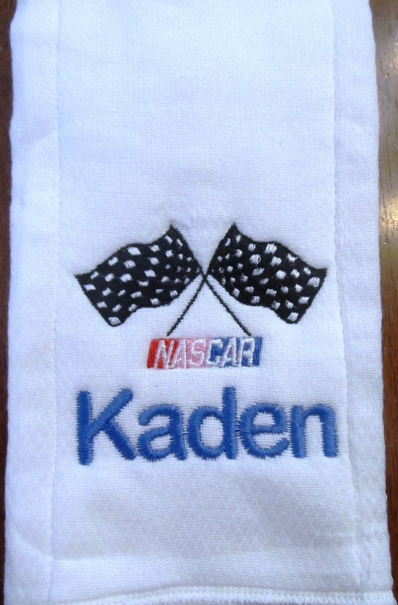 Nascar embroidered burp cloth Personalized