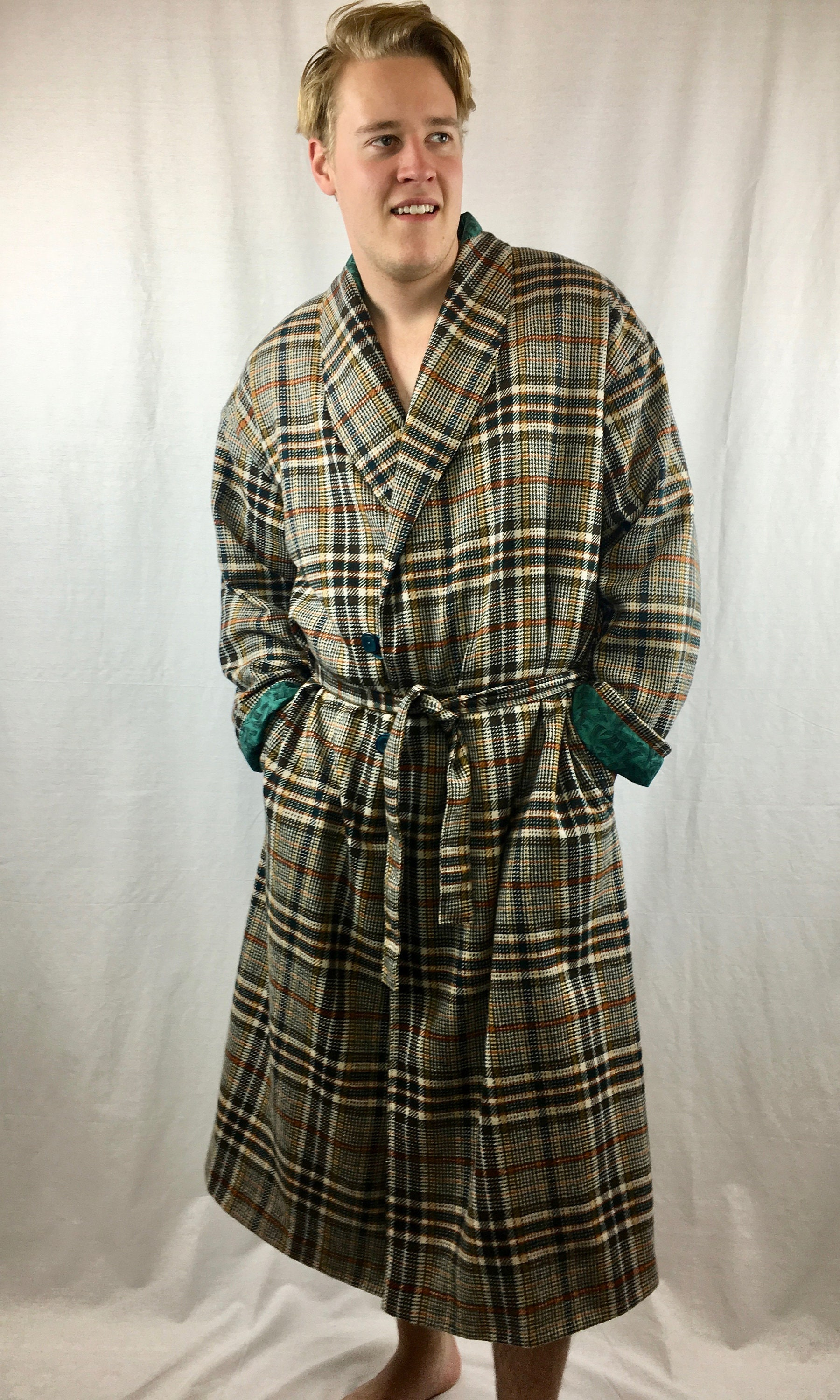 Mens Wool Robe or Dressing gown (Size X-Large) repurposed from ...