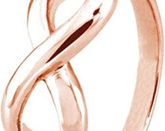 2mm Rose Gold Plated Sterling Silver Infinity Symbol Wedding Band,Engagement,Unisex Ring,Men's Ring,Ladies/Women/Girls' Ring,Standard fit.