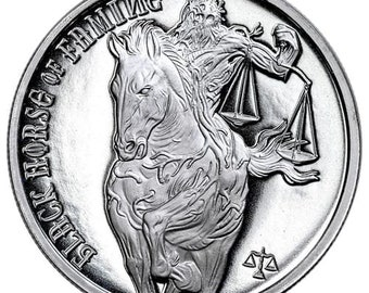 Black Horse Of Famine from The Four Horseman Of The Apocalypse Series, .999 Solid Silver Coin, Metal Plating Options Available.