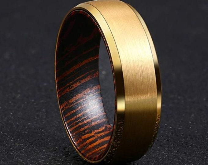 Reg 395.00 - 6mm Gold Brushed Tungsten Carbide With Beveled Edges and African Wenge Wood Sleeve Inside Wedding Band, Anniversary, Engagement