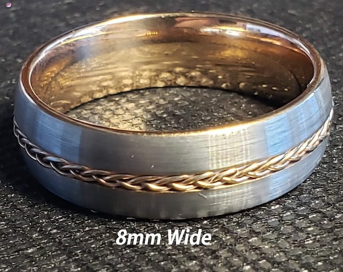 8mm Tungsten Carbide Band in Gun Metal Grey w/ Rose Gold Braided Celtic Inspired Rope Inlay & Rose Gold Inner Band - Comfort Fit - Size 7-15