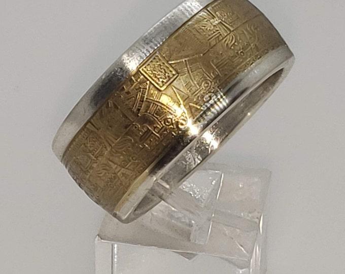 1oz Aztec Calendar 9999 Solid Silver Coin Ring (Tonatiuh Sun Stone ~ Emperor Cuauhtémoc) Rare Silver Mayan hand forged coin rings Size 4-24