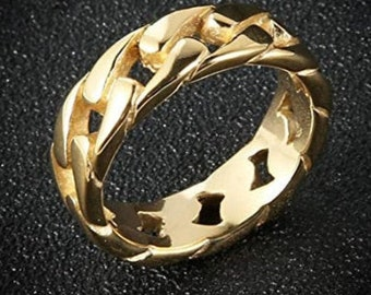 7mm Stainless Steel Wide Band, Cuban Link Chain Ring, Yellow Gold Finished Band, US Sizes 5-14.  (Rock Star, Motorcycle Ring, Chain match)