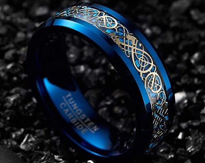 8mm Gold Celtic Dragon Tungsten Carbide Band,Blue Carbon Fiber,Wedding,Engagement,Unisex Ring,Comfort Fit,US Sizes 5-14.
