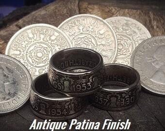 RARE 1953-1967 Two Shillings Coin Rings. Thistles, Rose, Leeks & Clover. Queen Elizabeth II Saint Patrick's Day, Irish, Scottish