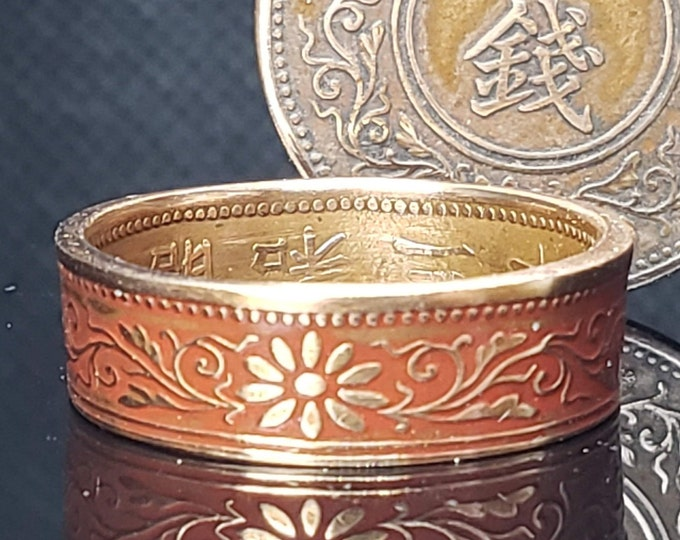 6mm Coin Ring (Bronze & Orange) Japan paulownia 1 sen 1916~1938 random (US Sizes 3-16) ladies coin rings, womens coin rings, japanese floral