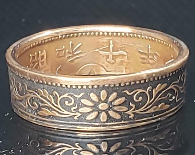 6mm Coin Ring (Bronze & Charcoal Matte Black) Japan paulownia 1 sen 1916~1938 random (US Sizes 3-16) ladies coin ring, women japanese floral