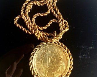 EST. VALUE 700.00 - RARE 1957 Egyptian 25 Piastres Egypt Qirsh (Silver), Twisted Rope Coin Bezel & Necklace Plated in 24k Gold (see Video)