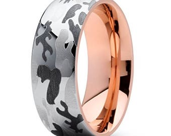 f5685f5a4d2725 Reg 99.95 - 8mm Rose Gold Tungsten Camo Ring (Military or Hunting  Camouflage Dome Wedding Engagement Rings |USAF, USMC, Navy, Army, Marine