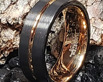 REG 299.99 - Rose Gold / Black 8mm Tungsten Carbide Ring Groove Beveled Edge Comfort Fit (Men's Wedding Ring, Engagement Band, Anniversary)