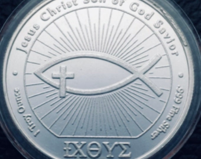 John 3:16 IXOYE Christian Fish Coin, Rare 1 Troy Ounce Pure Silver coin! (Jesus - God - Lord - Church), Metal Plating Options Available.