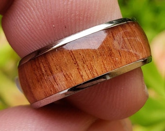 8mm Hawaiian Koa Wood & Titanium (Silver Finish) Vintage Dome Wedding Band, Engagement Rings, Men or Woman, (Band Sizes 6-13)