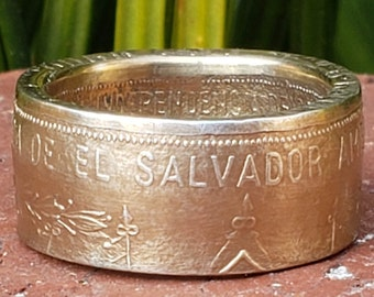 1971 REPUBLICA EL SALVADOR Silver Heritage Coin Ring | America Central 150th Anniversary of Independence (made from 99.9% Pure Silver Coin)