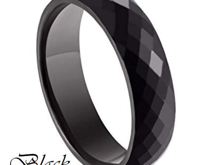 BLACK 6MM Ceramic Honeycomb Faceted Diamond Cut Ring (Multiple Color Options Available!)