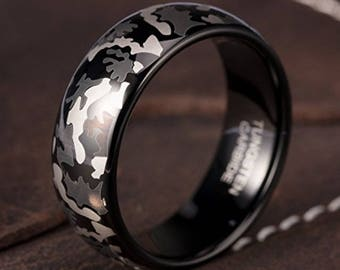 Reg 215.95 - 8mm Black Tungsten Camo Ring (Dark Military or Hunting Camouflage Dome Wedding Engagement Rings |USAF, USMC, Navy, Army, Marine