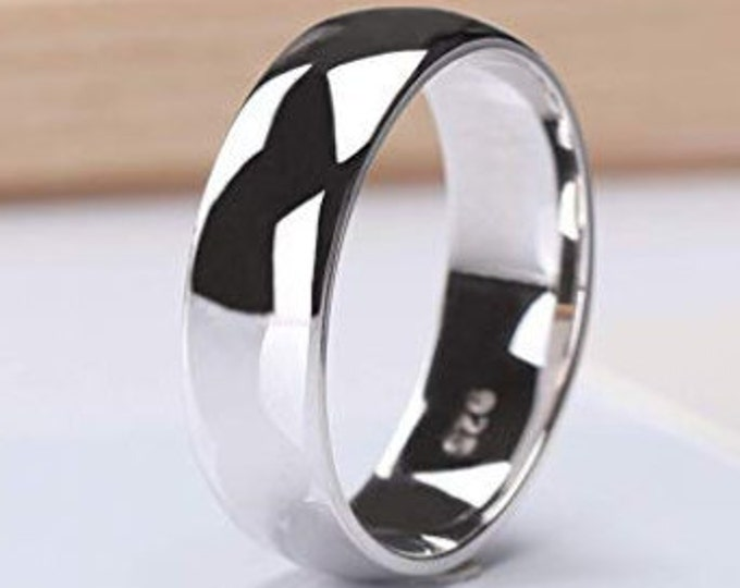 6mm Wide - 925 Solid Sterling Silver Comfort Fit Polished Dome Style Wedding Band Mens & Womens unisex, Engagement, Promise, Ring Sizes 5-14