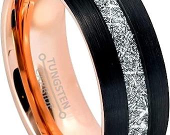 Three-Tone Tungsten Ring, Black, Rose Gold Inner, Tungsten Wedding Band, Meteorite Pattern, Engagement, Anniversary, Domed, Comfort Fit.