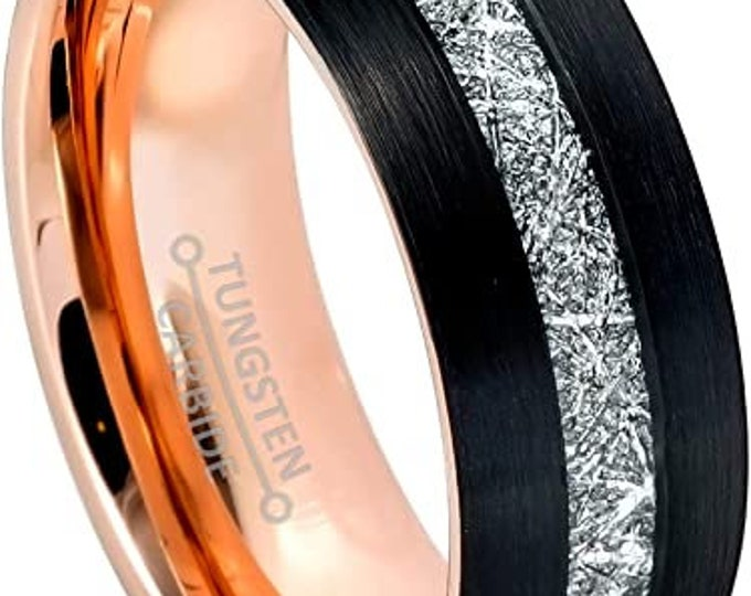 Three-Tone Tungsten Ring, Black, Rose Gold Inner, Tungsten Wedding Band, Meteorite Pattern, Engagement, Anniversary, Domed, Comfort Fit.